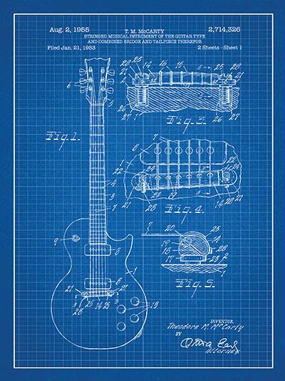 Patent -  Gibson Les Paul Guitarמוסיקה מוזיקה