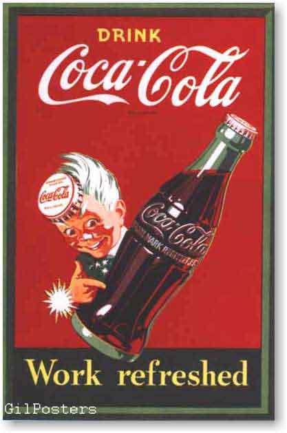 קוקה קולהרטרו פרסומת משקה קר בקבוק ילד כרזה רענן