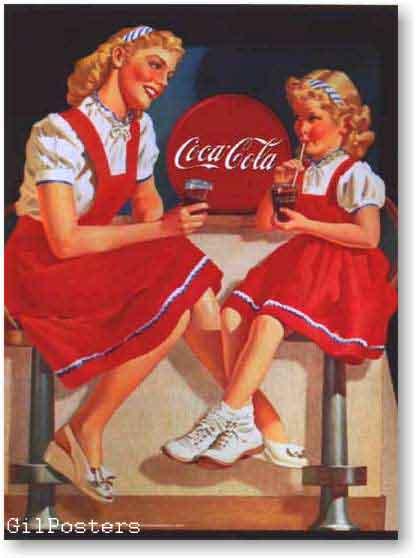 קוקה קולהרטרו פרסומת משקה קר בקבוק בחורה בנות שמלה אדומה כרזה רענן