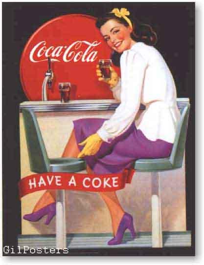 קוקה קולהרטרו פרסומת משקה קר בקבוק בחורה אישה כרזה רענן