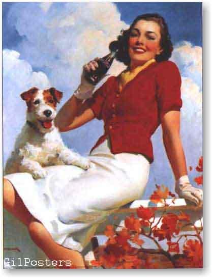 קוקה קולהרטרו פרסומת משקה קר כלב בקבוק בחורה אישה כרזה רענן