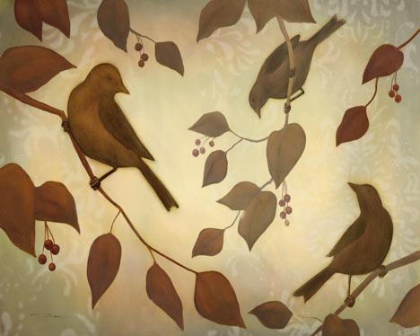 ציפורים , ענפים, זוג ציפורים, ציוץ, חום, בז', מודרני , דקורטיבי, ענף
