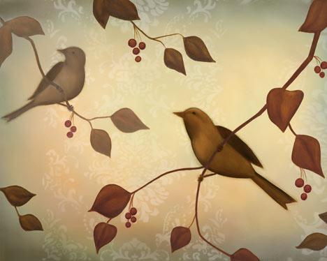 שירת הציפורים 2ציפורים , ענפים, זוג ציפורים, ציוץ, חום, בז', מודרני , דקורטיבי, ענף