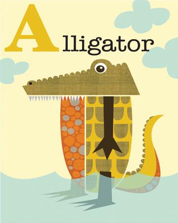 א -אליגטור תניןתנין, איור, אותיות, ילדים, A