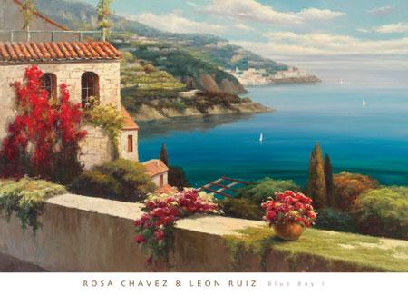 מפרץ כחול 1מפרץ, ים, בתים, כחול, עיר עתיקה, עננים, מרפסת, חלון , פרחים, עציצים, אביב
