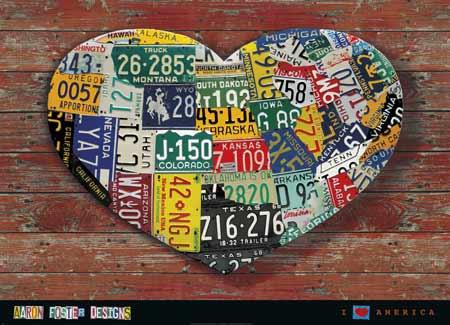 אני אוהב את אמריקהלוחיות רישוי, לב,צילום, צבעוני, עץ , מתכת, דקורטיבי