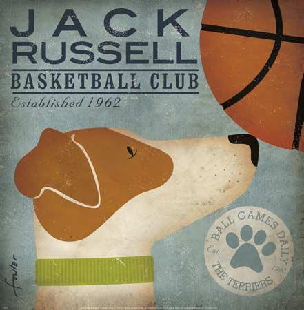 ג'ק ראסל כדורסל 1962איור, כלב, וינטג'