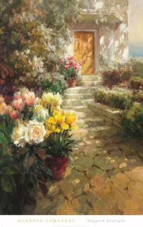 שמש מנומרתדלת, פרחים, מדרגות, שביל כניסה, אביב, אור, צל, ורדים,