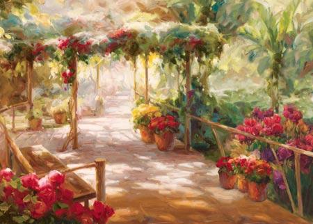 דרך מוצלתפרחים, אביב, עציצים, שביל, צל , עצים, פטיו