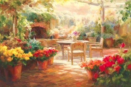 מרפסת מוצלתחנות, עציצים, מרפסת, פרחים, שולחן,] כיסאות , זרים, אדום , צהוב, אביב, פריחה