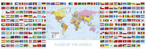 מפת עולם ודגלים