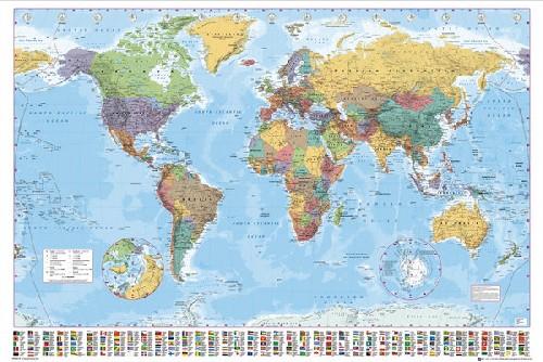 מפת עולם 1 באנגלית  - גודל ענקמפות מפה עלם