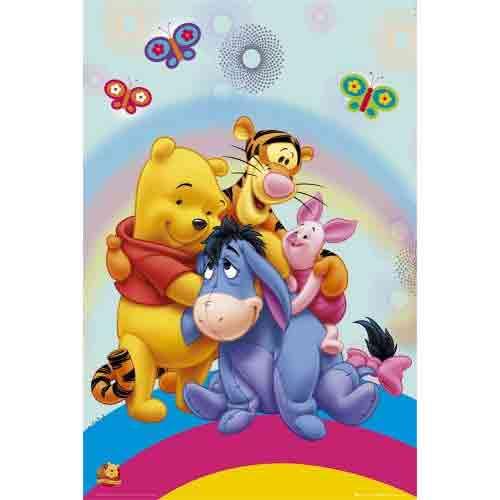 פו הדב - חיבוק בקשתאנימציה סרטים מצוירים דיסני  חדר ילדים פוסטר Winnie The Pooh ילדותי