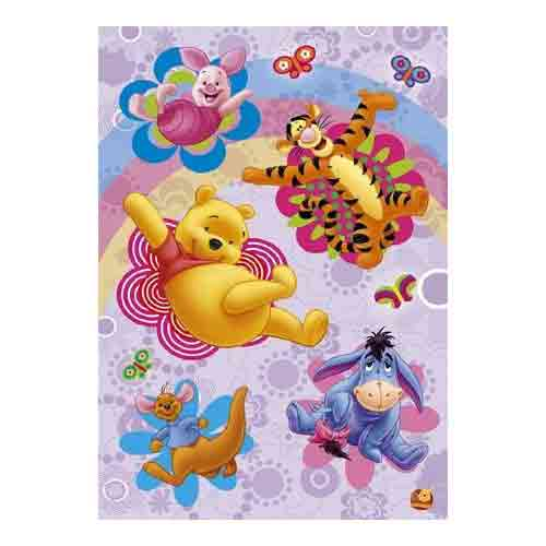 פו הדב - פרחיםאנימציה סרטים מצוירים דיסני  חדר ילדים פוסטר צבעוני Winnie The Pooh ילדותי