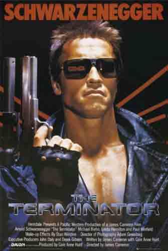 The Terminatorהמחסל ארנולד שווארצנגר סרט אימה הרפתקאות פחד הרג רוצח גברים בנים
