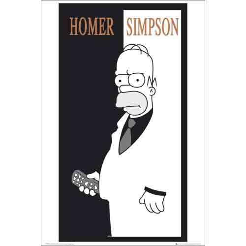הסימפסונים - פני צלקתאנימציה סרטים מצוירים ילדים פוסטר סימפסון סימפסונס בארט שחור לבן