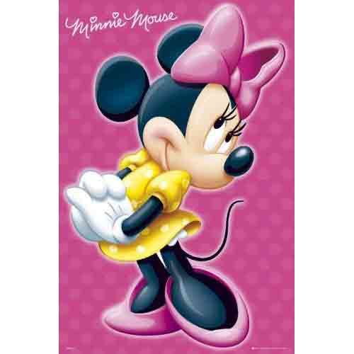 מיני מאוסאנימציה סרטים מצוירים דיסני   חדר ילדים פוסטר צבעוני Minnie Mouse ילדותי