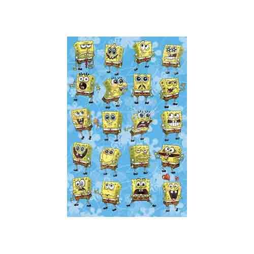 בוב ספוג - הבעותאנימציה סרטים מצוירים דיסני  Spongebob חדר ילדים פוסטר צבעוני Nintendo ילדותי