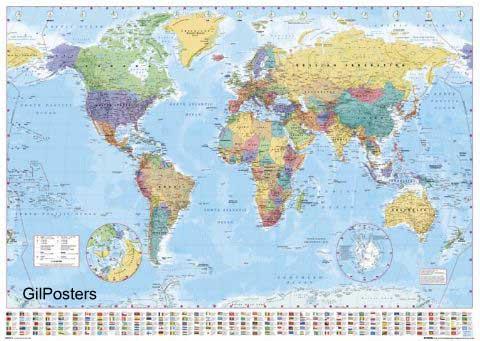 מפת עולם 1 באנגלית  - גודל רגילמפה עולם  עולמית מדינית מפת עולם