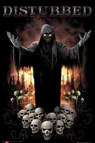 Disturbedלהקה הופעה רוק פופ גולגולת מסכה מפחיד אימים גולגלות