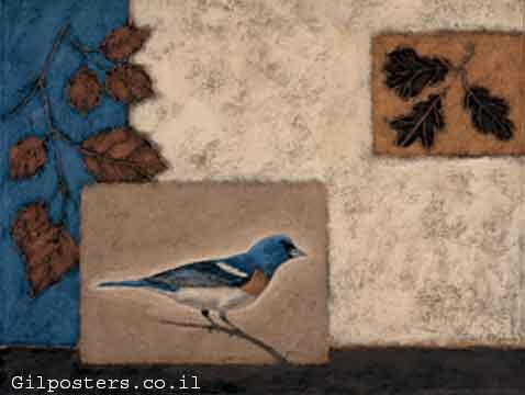 ציפור כחולה ועליםיפנית סינית מזרחית אוריינטלית דקורציה