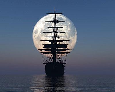 ספינה מול ירחספינה מול ירח   _ship-moon-sea-night-calm