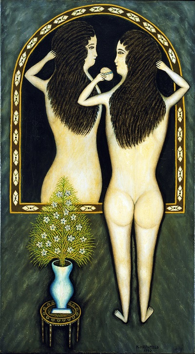 Morris Hirshfield - Girl in a Mirror-Morris Hirshfield - Girl in a Mirror