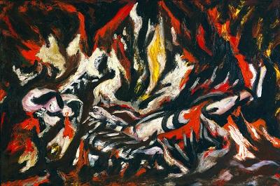 Jackson Pollock - The Flamגקסון פולוק תמונות ציורים של -Jackson Pollock - The Flam