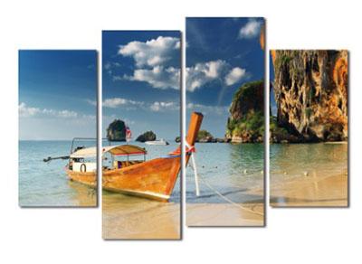 סירה וחוף  תמונות לסלון תמונות לבית פרויקטים סט תמונות