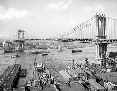 ניו יורק Manhattan Bridge and East River from Brooklyn 1912 Manhattan Bridge and East River from Brooklyn 1912