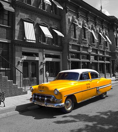 מונית  צהובהמונית  צהובה וינטג רטרו  ישן  -    נגיעות צבע  ארצות הברית