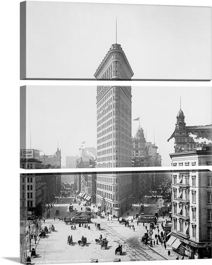 דוגמא לחלוקת תמונה - ניו יורק   New York   City - flatiron-building ים_vintage-photograph-of-flatiron-building-new-york-city