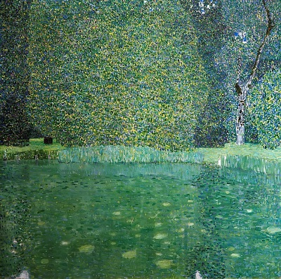 גוסטב קלימט - Pond of Schloss Kammer on Attersee  עצים  Pond of Schloss Kammer on Attersee