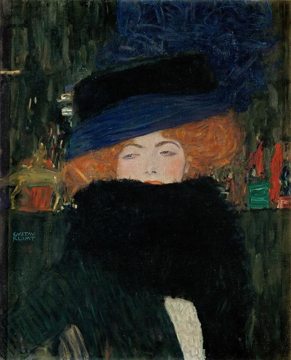 גוסטב קלימט - Lady with Hat and Feather BoaLady with Hat and Feather Boa