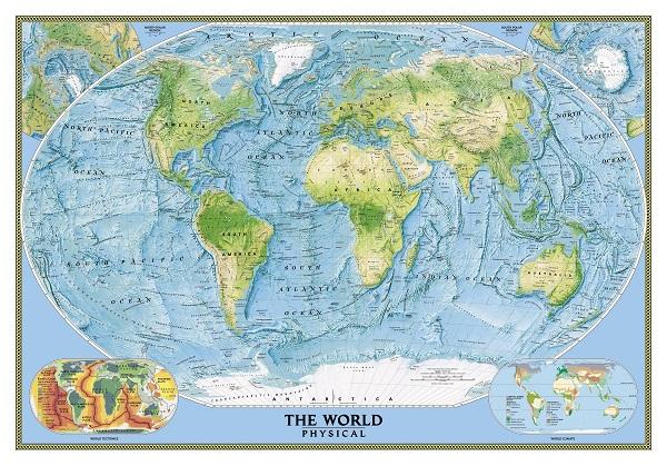 מפת עולם פיזית - מוכנה לתליה על קנבס מתוחמפת עולם פיזית - מוכנה לתליה על קנבס מתוח