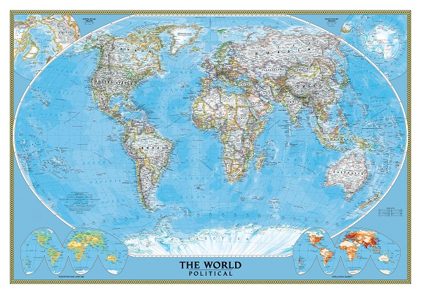 מפת עולם מדינית,מראה מודרני - מוכנה לתליה על קנבס מתוחמפת עולם מדינית, מראה מודרני - מוכנה לתליה על קנבס מתוח
