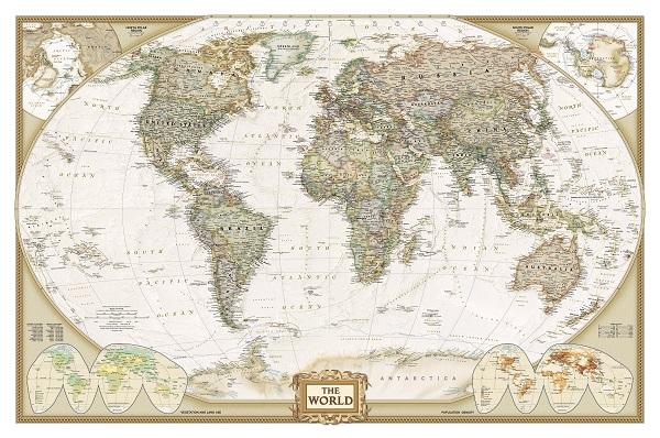 מפת עולם מדינית,מראה קלאסי- מוכנה לתליה על קנבס מתוחמפות ישנות עתיקות  מפה ישנה מפת עולם מדינית,מראה קלאסי- מוכנה לתליה על קנבס מתוח