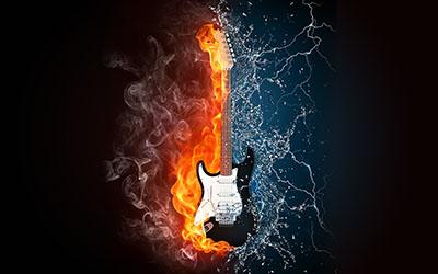 גיטרה חשמליתמוזיקה - טרנס   מוסיקה electric-guitars גיטרות  _Fire-Water-Guitar