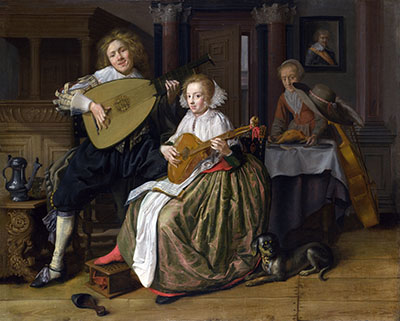 Jan Molenaer - A Young Man and Woman making Musicמוסיקה מוזיקה