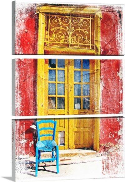 אפשרות לחלוקת תמונות - דלת ישנה אופיינית, יוון  -  תמונה בחלקים
