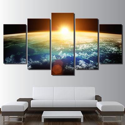 שקיעה בחללתמונות לסלון תמונות לבית פרויקטים סט תמונות