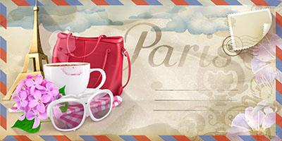 מכתב מפריז - תמונה על קנבס,מוכנה לתליה.מכתב מפריז  background-travel-paris-vector-postcard