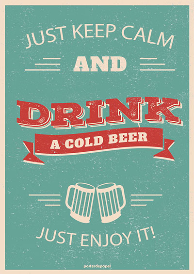 drink-cold-beer - תמונה על קנבס,מוכנה לתליה._poster-drink-cold-beer-vintage