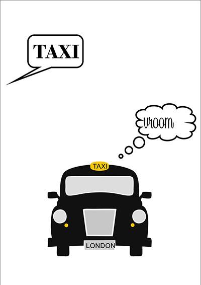 לונדון - מונית  taxi   - תמונה על קנבס,מוכנה לתליה.מונית  taxi