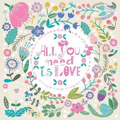 all you need  is love  - תמונה על קנבס,מוכנה לתליה.129