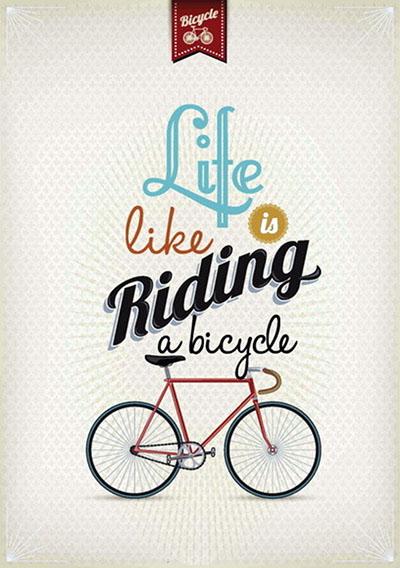 אופניים  life is riding a bicycle - תמונה על קנבס,מוכנה לתליה.