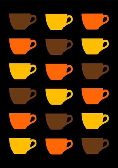 ספלים - תמונה על קנבס,מוכנה לתליה. תמונות של קפה  ספלים  poster-duplo-elefante