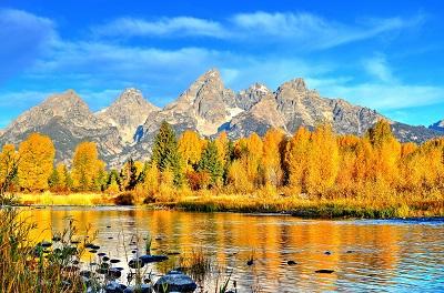 סתיו סתיו  הרים נהר עצים עץ autumn_river_mountains_trees