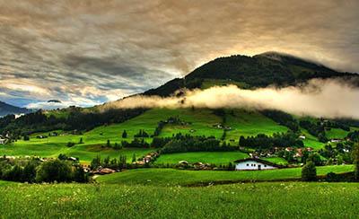 נוףתמונות של שדות צילומים נוף  hills_trees_landscape_grass_clouds_field_village_mountains_greenery_home_sky