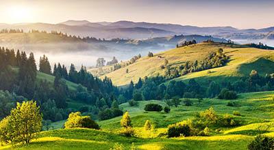 נוף כפרי  תמונות של שדות צילומים  נוף כפרי   _landscape_nature_hills_trees_foliage_fog_sunrise_sun